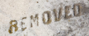 removed written in snow