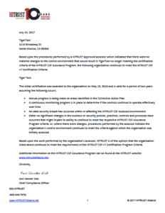 HITRUST Certification Letter for TigerText - 2017 Image