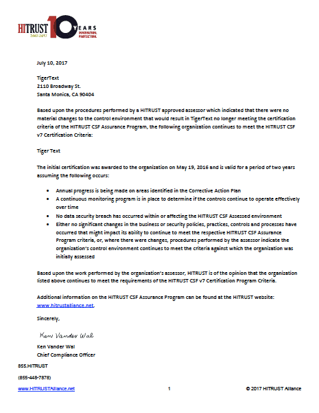 Hitrust Certification Letter For Tigertext 2017 Image Tigerconnect