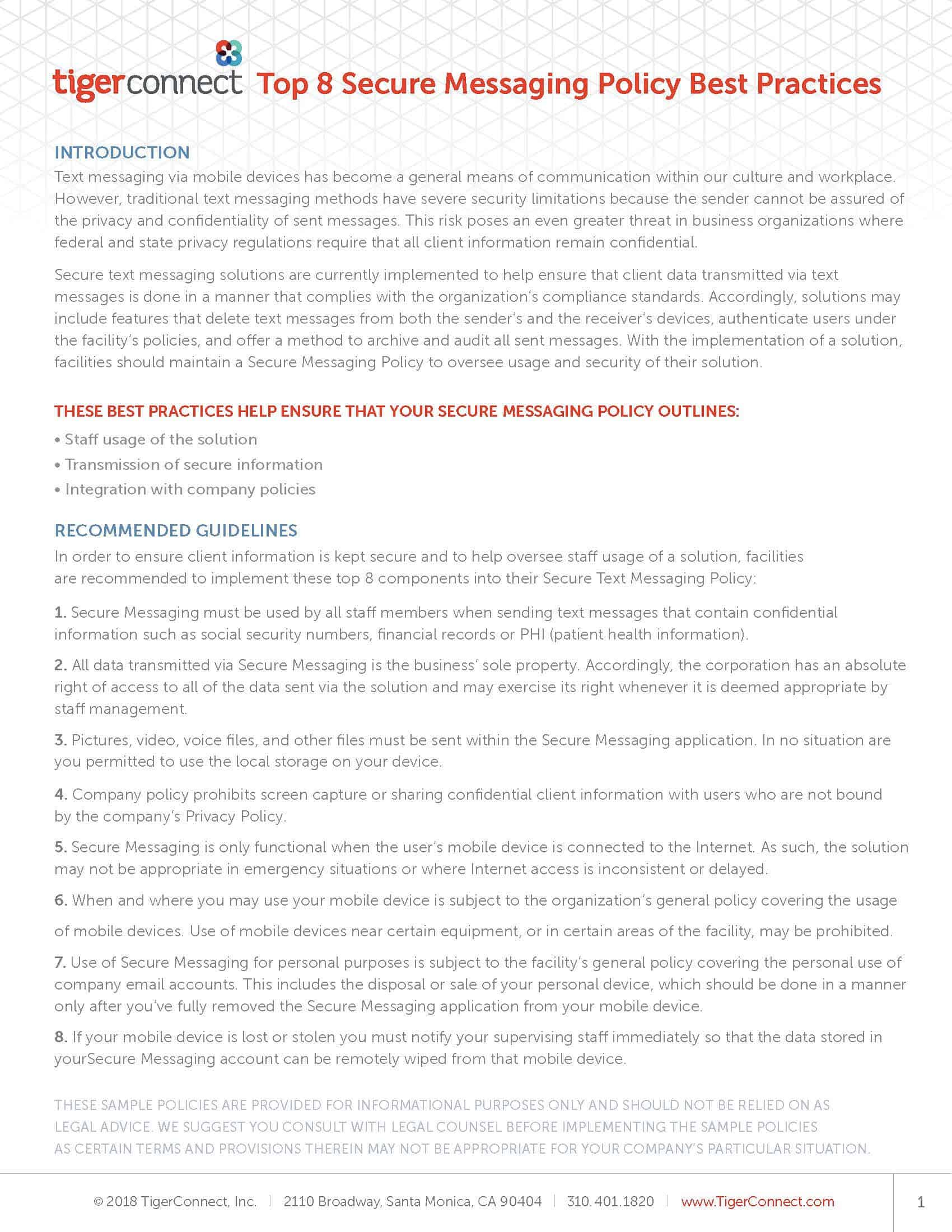 Top 8 Best Practices for Secure Messaging Datasheet Preview