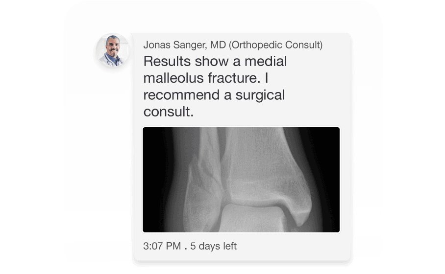 TigerConnect communication of an orthopedic consult of knee Xray