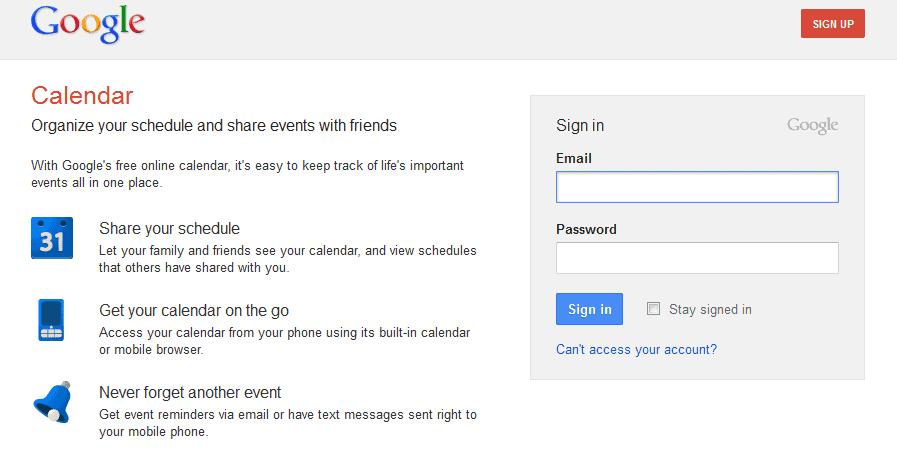 google calendar login