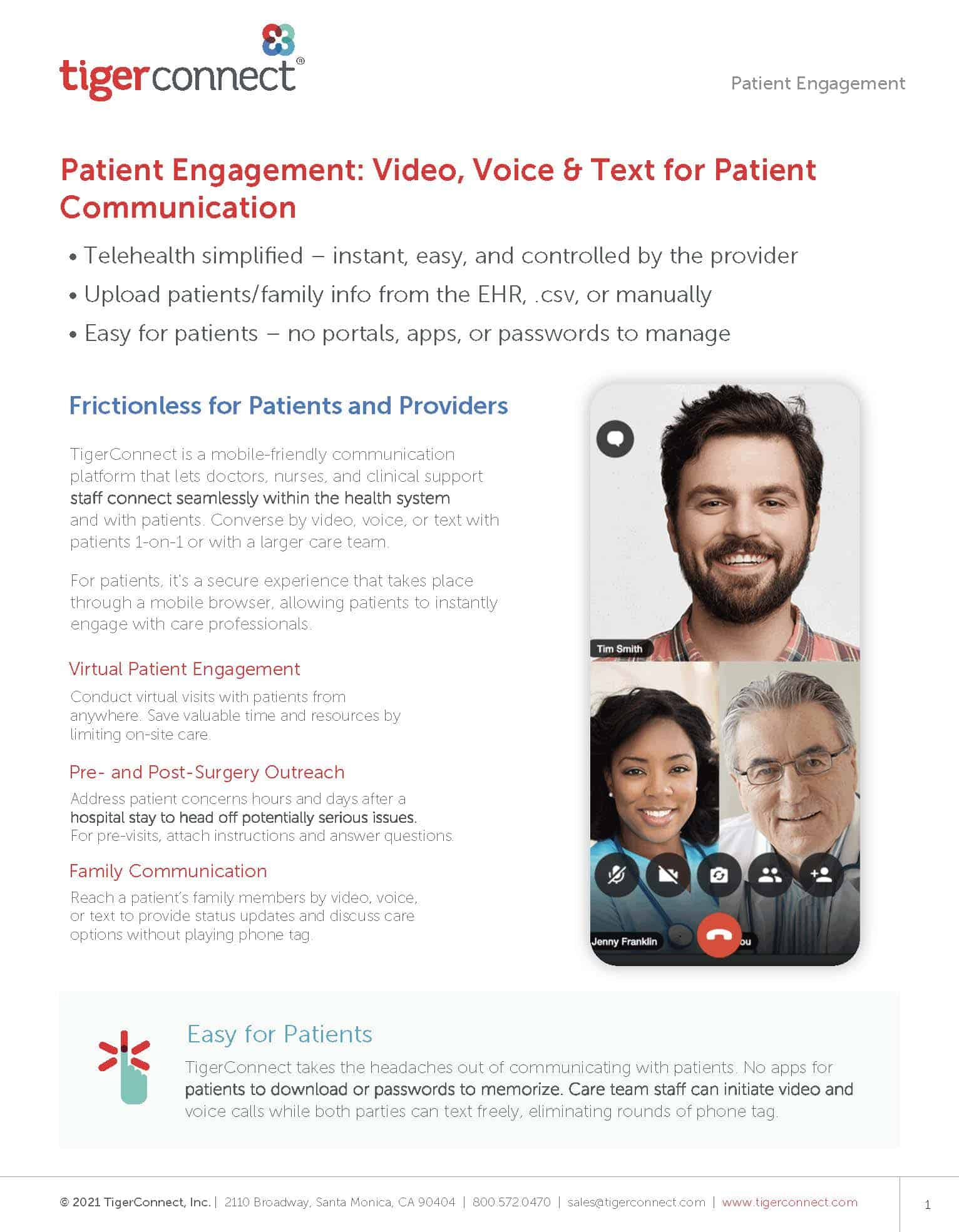 Download the TigerConnectPatient Engagement data sheet